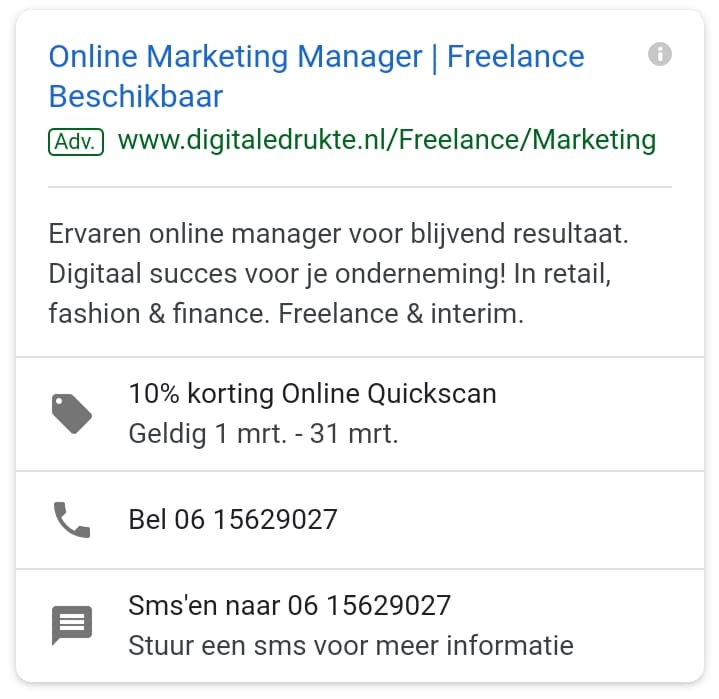 Google Ads extensies - advertentie met extensies