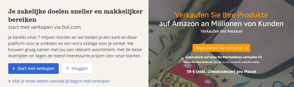 Aanmelden als verkoper bij bol.com en Amazon.de